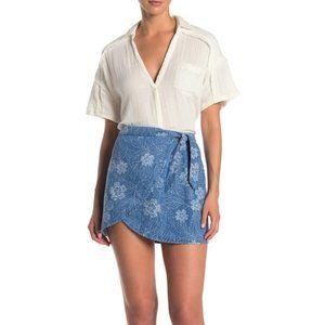 Free People Ann Reed linen blend wrap skirt
